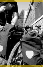 strapping down gear on a tandem bicycle