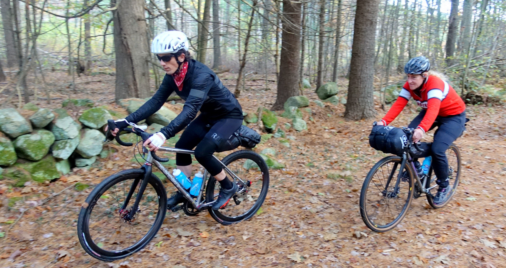 Bikepacking on a New England country road in autumn